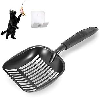 nukka Pelle à litière pour Chats antiadhésive en métal avec Crochet de Rangement Pelle à litière de Toilettes pour Chats et Jouet pour Chat