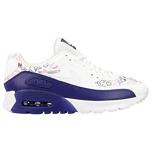 Nike W Air Max 90 Ultra Print, Chaussures de Sport Femme Blanc Cassé - Blanco (White / White-Dk Purple Dust)