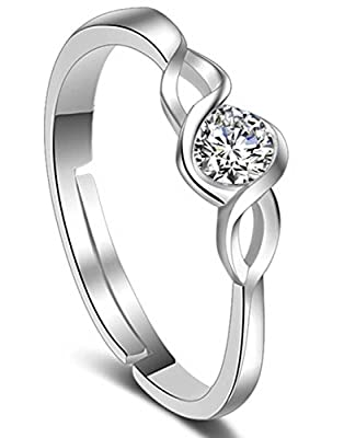 Karatcart Platinum Plated Elegant Classic Crystal Adjustable Ring For Women With Ring Box