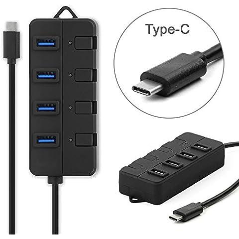 subtel® USB-C a 4 Port USB 3.0 Hub para USB Type-C compatible aparatos