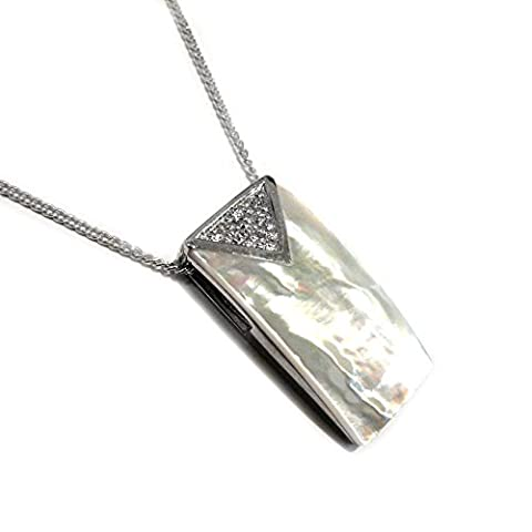 Sterling Silver and White Mother of Pearl Rectangular Pendant with Cubic Zirconia Stones of 45.7cm