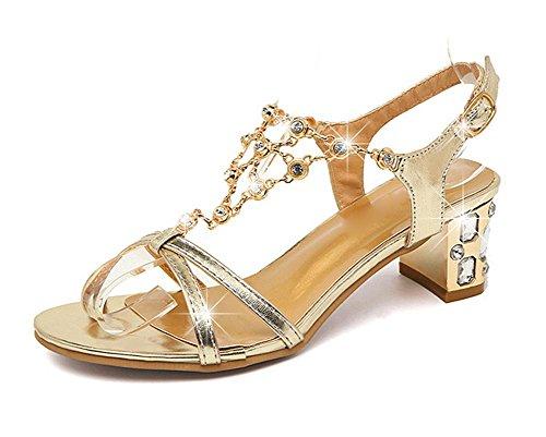Diamant Schuhe mit dicken wilden weiblichen Sommer Sandalen Gold