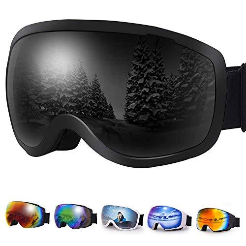 Avoalre Lunette de Ski Femme Homme Masque de Ski Lentilles Sphériques Adulte UV400 Protection Anti-Buée Coupe-Vent No