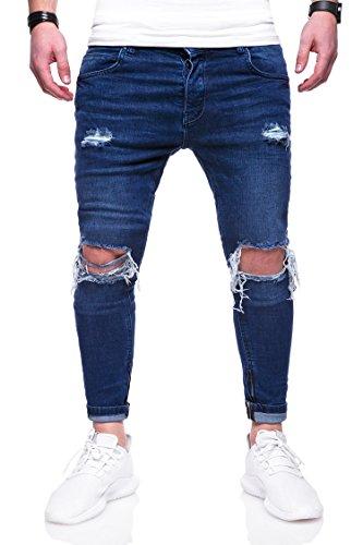 MT Styles Herren Destroyed Jeans Hose JN-3299 [Dunkelblau, W34/L32]