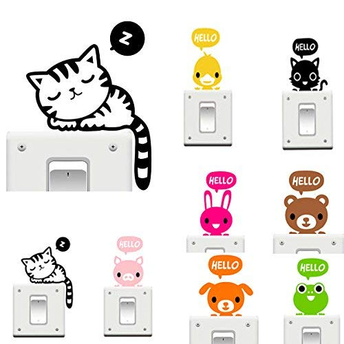 TEN-G Wall Art - Vinyl Removable Funny Cat Switch Stickers Black Art Decal Home Decor - Cute Girl Room Decor Wall Stickers Teen Boys Girls Animal Bedroom Switch - for - 1PCs
