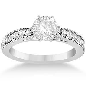 Allurez Cathedral Antique Style Engagement Ring in Palladium (0.28ct) - T 1/2