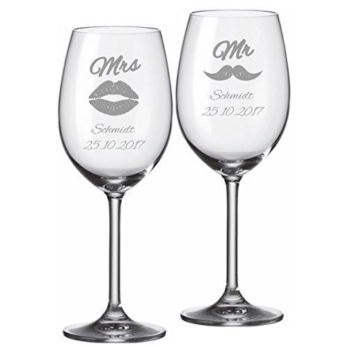 2 Leonardo Weingläser mit personalisierter Gravur Mr. & Mrs. graviert mit Namen und Datum zur Hochzeit oder als Geschenk für Paare
