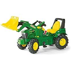 Rolly Toys - 710126 - Tracteur à pédales J.Deere 7930 146 cm avec pneus à chambre à air, boîtier de vitesse, pelle et freins