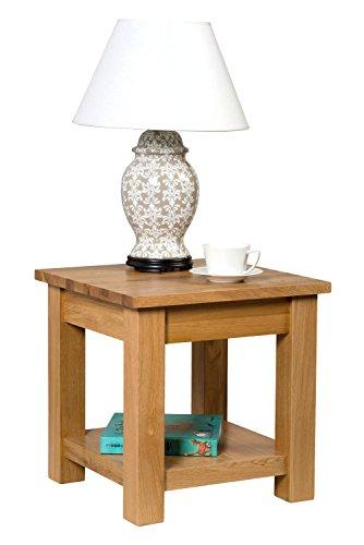 Waverly Chêne Petite table basse avec étagère en chêne clair Finition 45 cm   Table d'appoint carrée en bois massif/lampe de table/table de chevet/table de nuit/table d'appoint/table de téléphone/table d'appoint