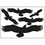 WANDKINGS Vogelschutz und Fensterschutz, 5-Aufkleber im Set zum Schutz vor Vogelschlag, schwarz - erhältlich in 33 Farben