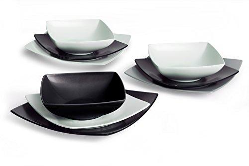 Excelsa Eclipse Servizio Piatti quadrati, 18 Pezzi, Ceramica, Bianco e Nero