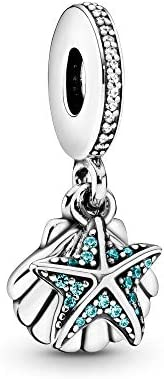 Pandora Women's Tropical Starfish and Sea Shell Dangle Charm - 792076CZF,Si