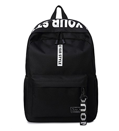 DNFC Canvas Schulrucksack Mädchen Jungen Rucksack Fashion Schulranzen Teenager Schultaschen Freizeitrucksack Mode Kinderrucksack Daypack Backpack (Schwarz)