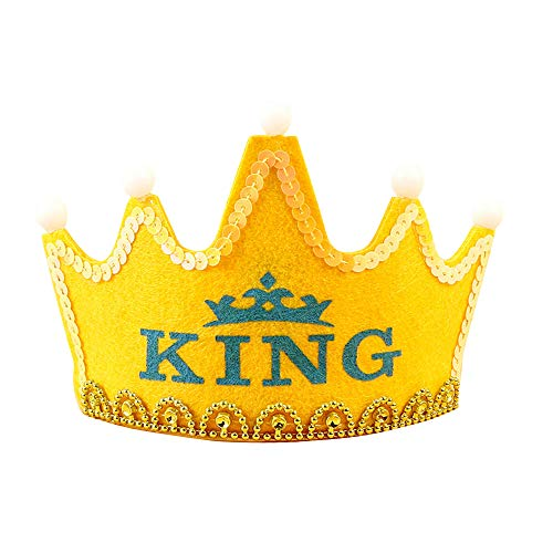 nenkönig Happy Birthday Krone, Tiara Kostüm Zubehör für Kinder und Erwachsene Normal Yellow King ()