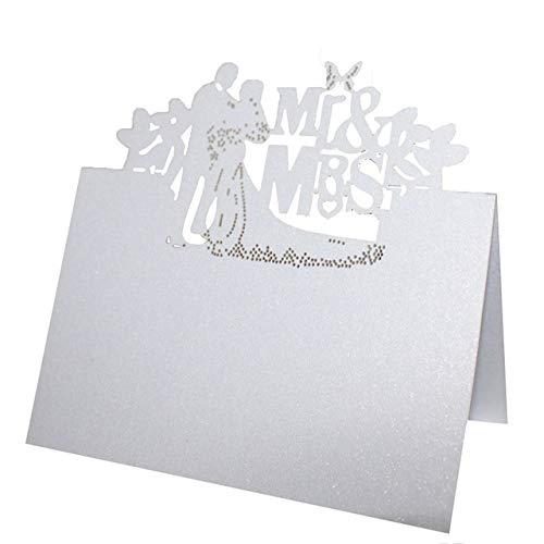 Musuntas 50Tlg MR&MRS Liebe Herz Laser Schnitt Namenskärtchen / Platzkarte / Namensschild / Sitzkarte / Namenskarte / Tischkarte / Tischkärtchen für Hochzeiten Feste oder Partys -five style