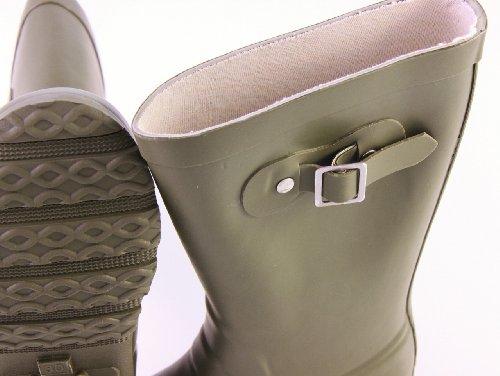 EN-FANT mixte bottes de pluie en caoutchouc, rouge orangé, taille 35, 812900U-12 vert kaki