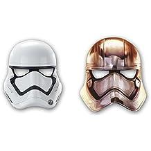 6 máscaras de papel * Star Wars VII * Para niños de cumpleaños y lema-fiesta // Juego de máscaras revestimiento de diseño de The Force despierta Lucas película de Darth Vader Yoda de la guerra de estrellas Disney episodio clones kylo puertas