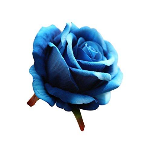 Flores Artificiales,Xinan 5 Cabezas Flores de Látex Rosa 2017 Nuevo (Azul)