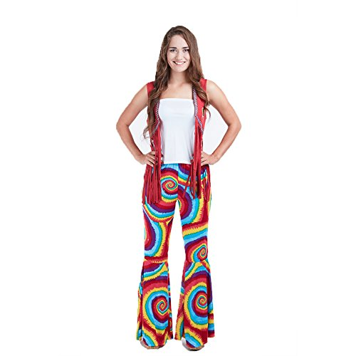 Charm Rainbow Hippie Kostüme Damen Fasching 80er Jahre Schlagermove Mädchen Glocken Hose Rogenbogen Halloween und Karneval Zubehör 3 Größe
