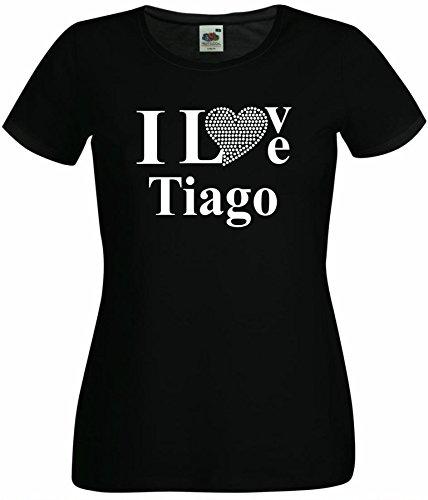 T-Shirt I Love Tiago mit einer Strassaplikation / Strassherz Schwarz
