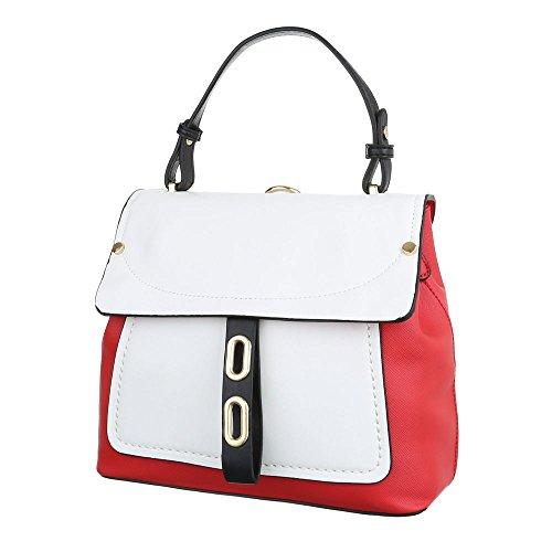4dd9dd8be23ab iTaldEsiGn Damentasche Kleine Schultertasche Handtasche Tragetasche  Kunstleder TAB548 Rot Weiß