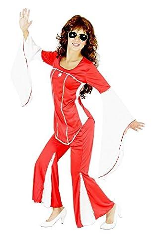 Foxxeo 40113 | 70er Jahre Kostüm Disco Damenkostüm Super Trooper, Größe:L