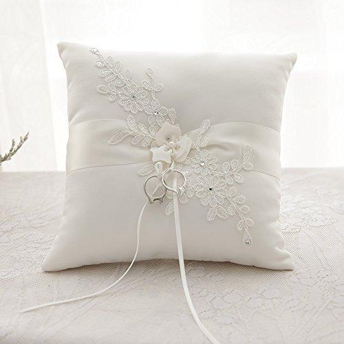 awtlife Blume Hochzeit Ring Kissen Kissen, elfenbeinfarben für den Strand Hochzeit 21cm