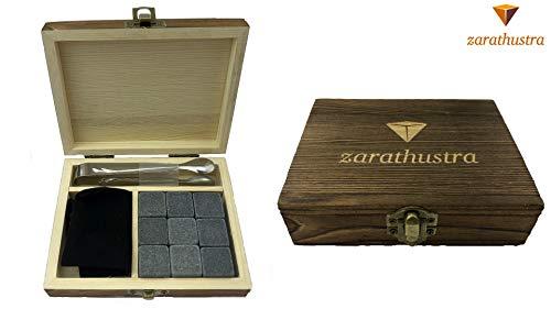 Zarathustra Premium Whiskey-Stein-Set - 9 Wiederverwendbare Granitsteine, eine Edelstahlzange und EIN Samtbeutel in hochwertiger Holzbox. Kein Verwässern mehr, sparen Sie an Geschmack.