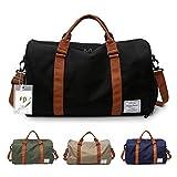 FEDUAN Herren Handgepäck Trainingstasche Fitnesstasche Gym Tasche Sporttasche hochwertige Reisetasche mit Schuhfach 48x26x28 cm mit Schultergurt (Schwarz)