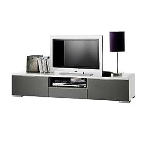 Meuble tV viva 180 cm-couleur: blanc/blanc brillant/gris