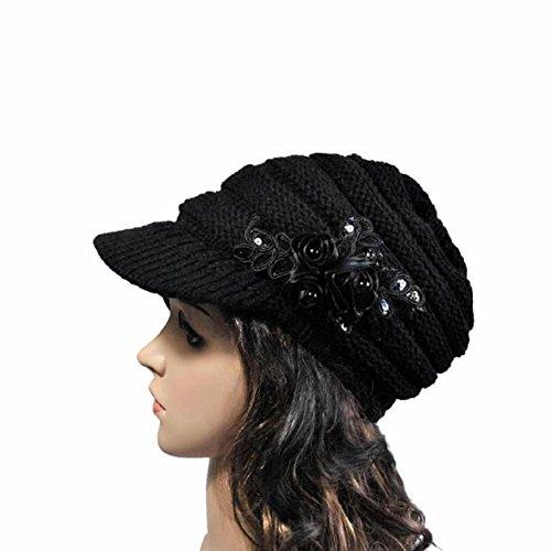 Malloom otoño e invierno mujeres gorros de punto tejer sombreros con apliques de flores lentejuelas (negro)