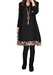Landove Ladies Long Sleeve Midi Dress Plus Size Round Neck Floral Mini Sundresses Casual Automn Winter Loose Fit Dresses Blouse Tunic Tops Shirt Elegant