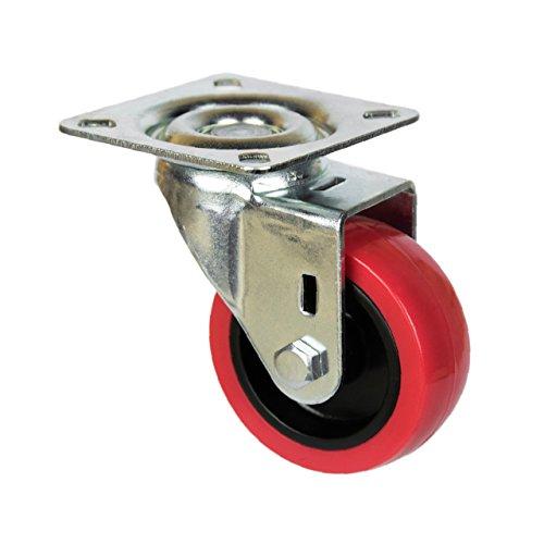 41abrjN8g1L - QC EY50R22P 4 Ruedas para muebles 2 con freno y 2 sin freno. Diámetro 50mm con placa de montaje y tornillos incluidos. No marca el suelo. Silenciosa. Cojinete Liso. (ROJO)