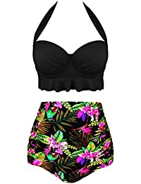 31283e8c8 Angerella Mujer Retro Polka Punto Cintura Alta Traje de baño Bikini