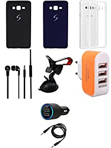 NIROSHA Cover Case Car Charger Headphone Mobile Holder Charger for Samsung Galaxy ON7 - Combo