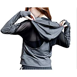 POUREVE Running Chaqueta Mujer, Sudadera con Capucha Mujer Jacket Deportiva Ropa Zip Manga Larga, Fitness Abrigo Yoga Ropa Mujer (Gris, M)