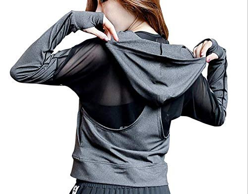 POUREVE Laufjacke Damen Sportjacke, Jacken Frauen Running Sweatshirts Tops, Damen Sport Hoodies Zippe Sportbekleidung Gym Outdoor-Bekleidung Fitness Kleidung für Damen (Grau, S)