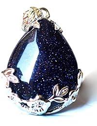TOOGOO(R) Mujeres angel Lagrimas Agua Gota Semi-Preciosas Piedras Colgante - Arenisca Azul
