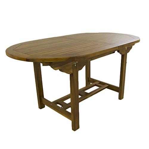 Mesa de jardín Extensible 160/210 cm de Madera Teca, Madera Teca ...