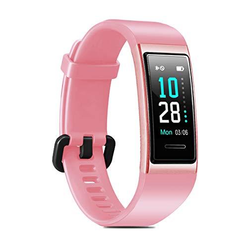 LATEC Fitness Armband, Smartwatch Wasserdicht IP68 Fitness Tracker mit Pulsmesser Farbbildschirm Aktivitätstracker Fitness Uhr Schlafmonitor Schrittzähler Stoppuhr Anruf SNS SMS für Android iOS (Rosa)
