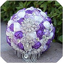 Ramos de la Boda la Novia de Rose Flores Brillante Broche del Ramo de Novia de Cristal Borla Hecha a Mano de satén, púrpura de la Lila