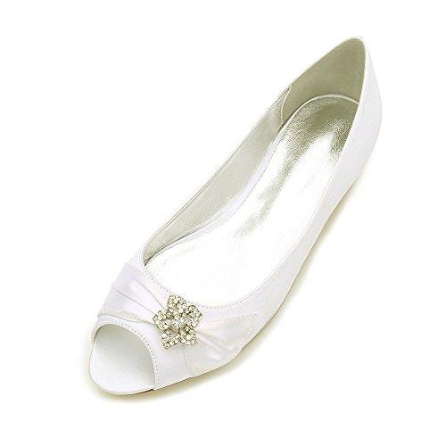 Duoai@ Hochzeit Blume Mädchen Schuhe/Trim/Schuh/Braut Kleider Schuhe/Bankett/Partei/Fisch Mund Einzelne Schuhe, Elfenbein und 38 (Mädchen Kleid Schuhe Elfenbein)