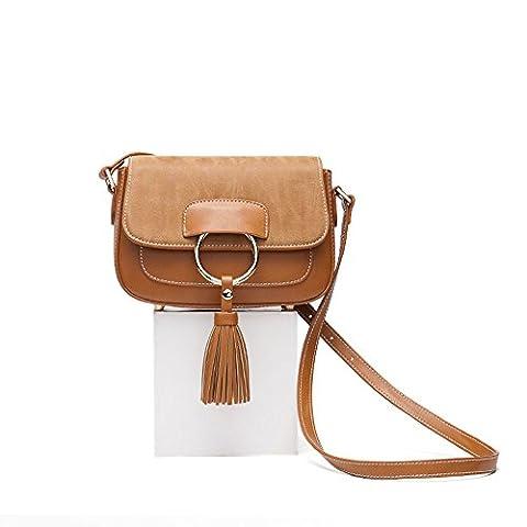 TOYU S Lady Leather Crossbody Bag Women Saddle Bag Purse Minimalist Tassel Flap Shoulder Bag for Ladies-Brown