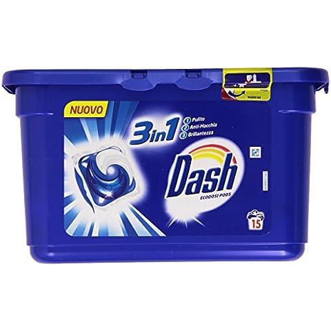 Dash - Detersivo per lavatrice in Monodose, 3 in 1, 15 Monodosi - 432 g