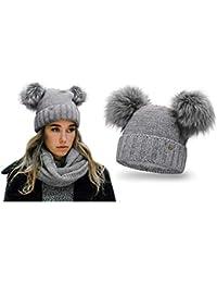 HEYO da donna cappello invernale con due in pelliccia sintetica con pompon   257e10fcf7aa
