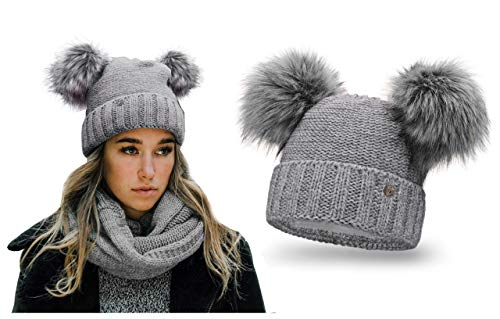 HEYO Damen Wintermütze mit Fleece Innenband Slouch Beanie Winter Mütze | Warme Strickmütze mit Zwei Bommeln | Bommelmütze mit Katzenohren (Hellgrau) -