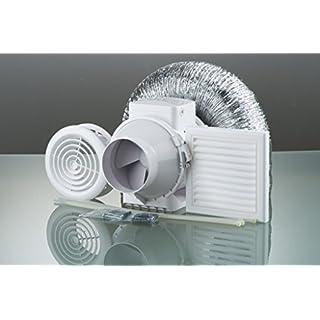 High Power Inline Loft Mounted Bathroom Extractor Fan Kit 100mm 4