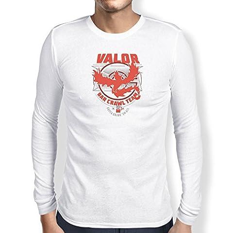 NERDO - Bar Crawl Team Valor - Herren Langarm T-Shirt, Größe XL, weiß