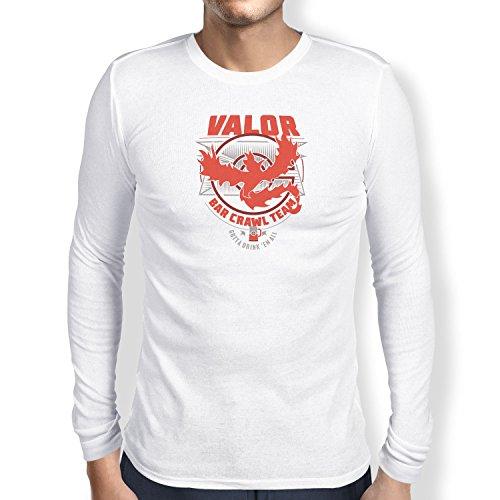 NERDO - Bar Crawl Team Valor - Herren Langarm T-Shirt, Größe XL, (Pokemon Kostüm Trainer Rote)
