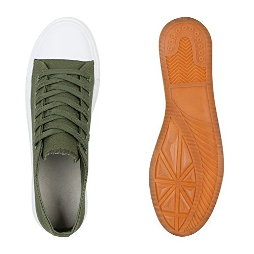 Komfortable Damen Basic Sneakers Low Helle Sohle Schnürer Grün
